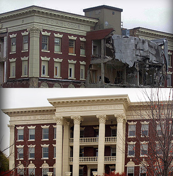 DA Blodgett Building before and after photos, showing the striking change after a renovation using Stromberg GFRC products