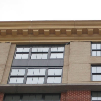 A building with a decorative cornice.