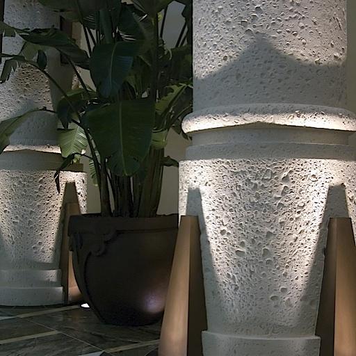 Coral stone columns.