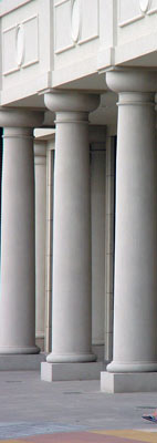 Greek Doric columns at Portofino Shopping Center in Shendandoah, TX